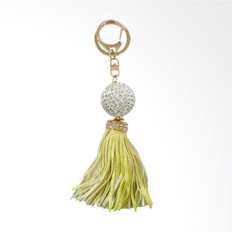 SIV Key Chain - Gantungan Kunci Bola Manik plus Rumbai - Yellow [kuning] - GT-BK04