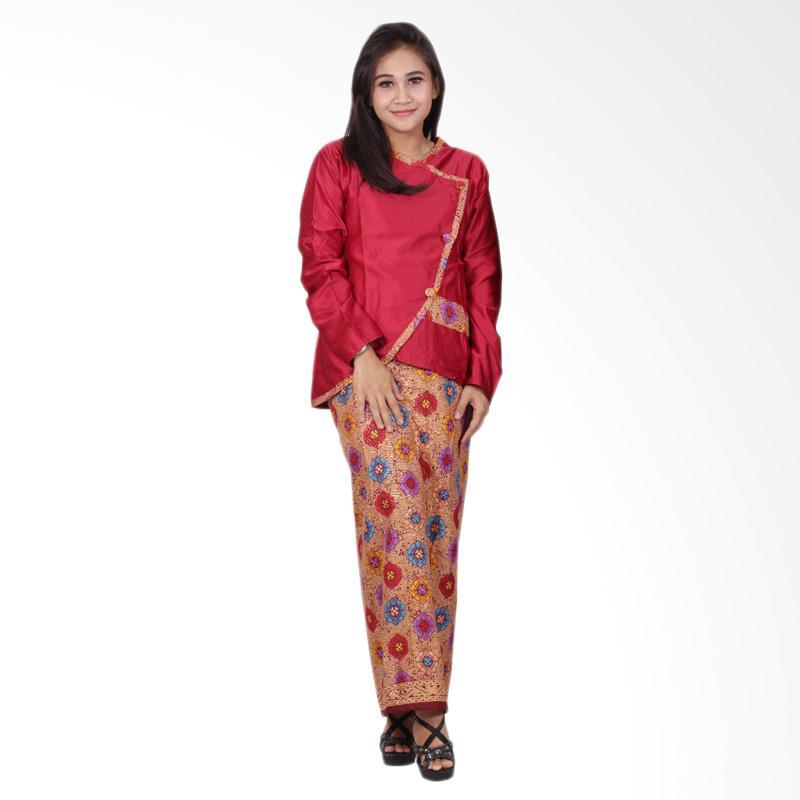 Batik Putri Ayu Solo D90 Semi Sutra Setelan Dress Batik - Merah
