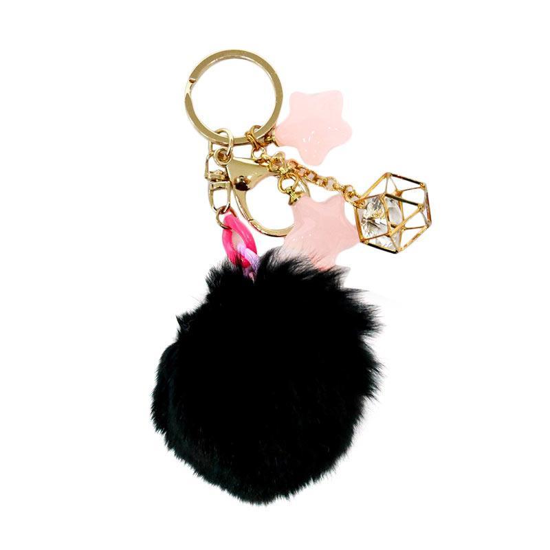SIV BB01 Bulu Kombinasi Bintang Key Chain Gantungan Kunci - Black