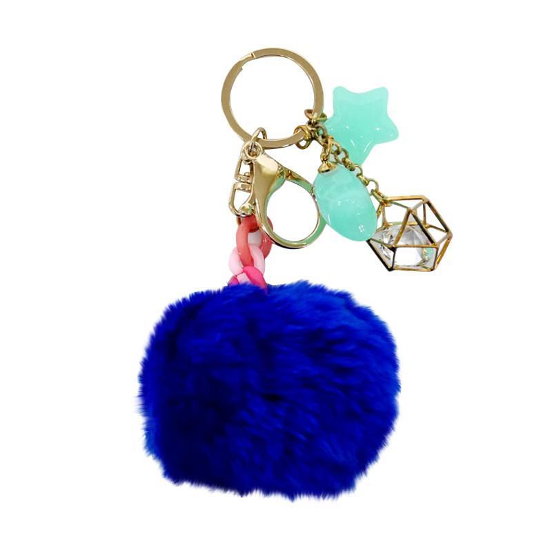 SIV BB06 Bulu kombinasi Bintang Key Chain - Dark Blue