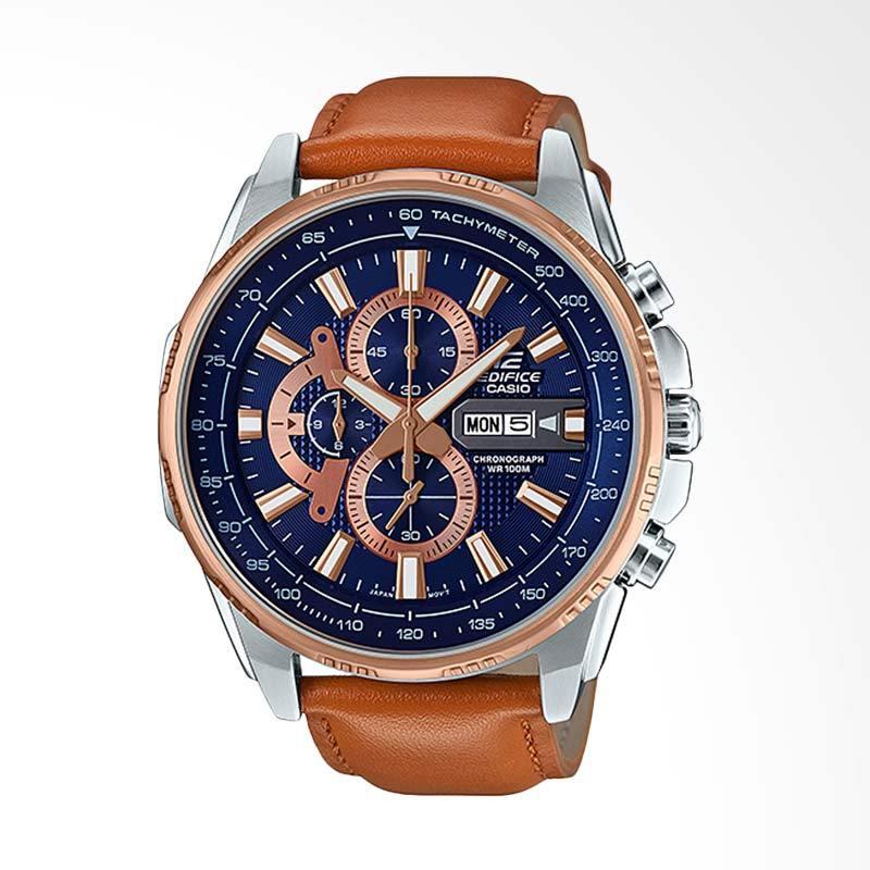 CASIO EDIFICE Chronograph Tachymeter Genuine Leather Jam Tangan Pria - Coklat EFR-549L-2AVUDF