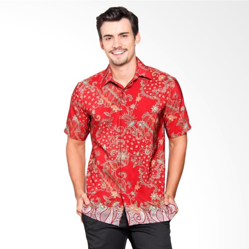 Batik Heritage Royal Peach Flower Tail Slim Fit Baju Batik Pria - Merah