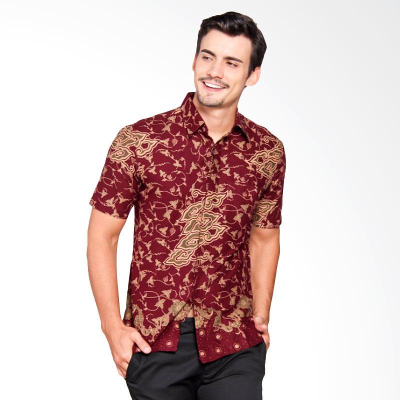 Batik Heritage Katun Mega Mendung Slim Fit Kemeja Batik Pria - Maroon