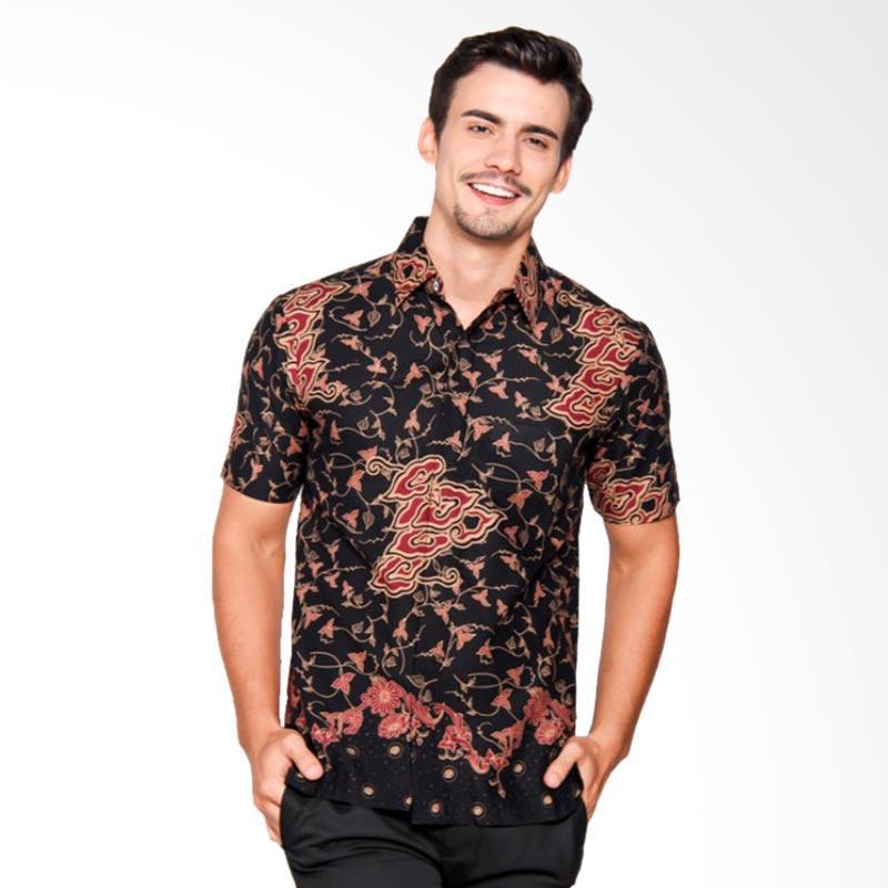 Batik Heritage Katun Mega Mendung Slim Fit Kemeja Batik Pria - Hitam