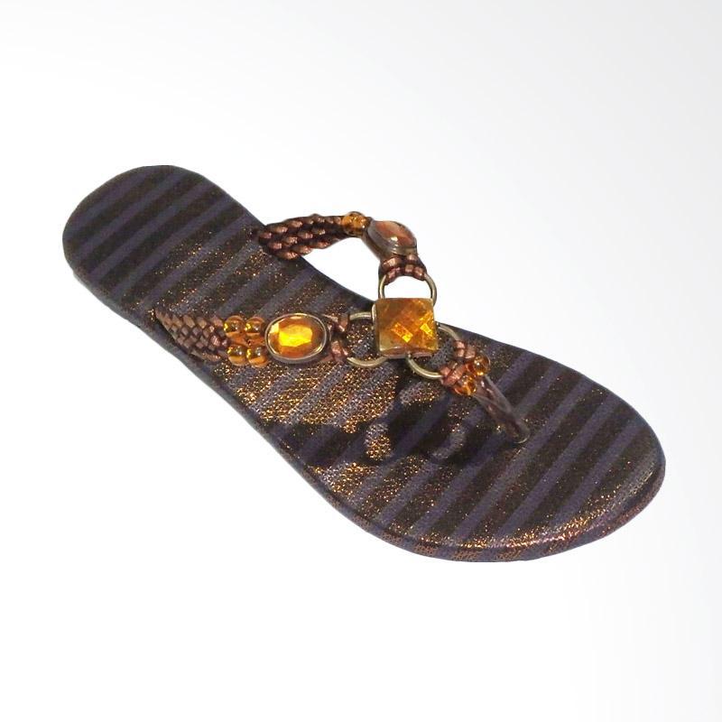 Aerilyn Sandal Flat Jepit Wanita Cleopatra - Brown