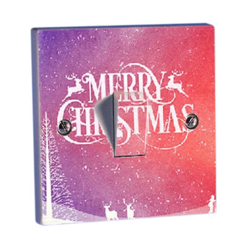 OEM Natal Tulisan Merry Christmas Gradasi Merah Saklar Lampu Sticker