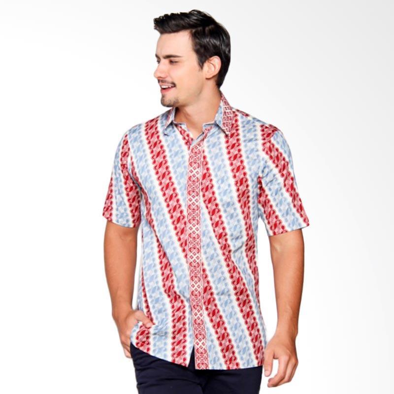 Batik Heritage Katun Lereng Slim Fit Kemeja Pria - Merah Biru