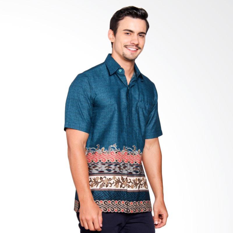 Batik Heritage Katun Motif Tenun Slim Fit Batik Pria - Tosca