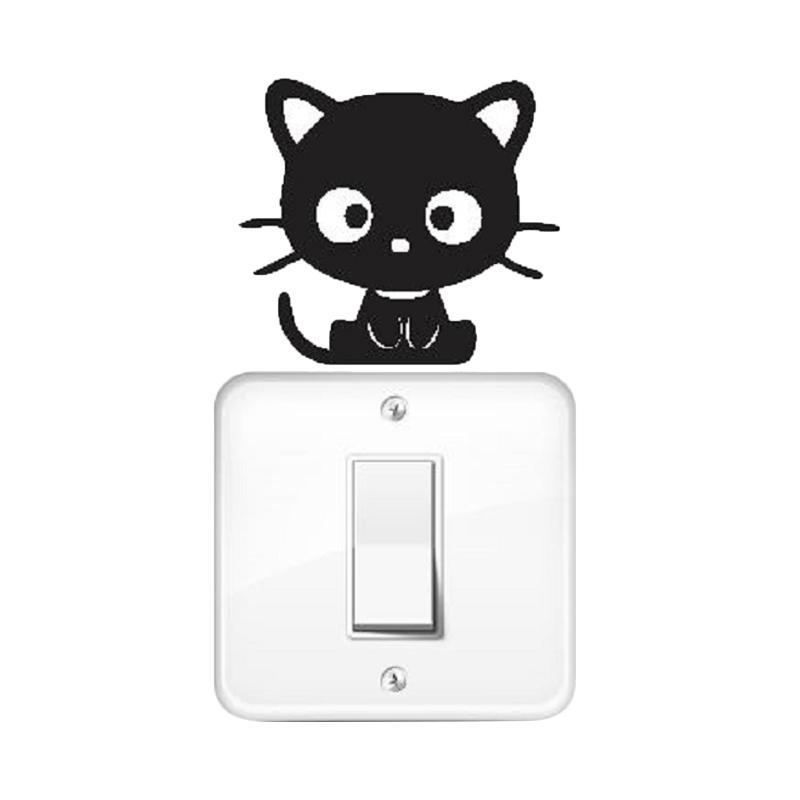 OEM Kucing Chococat Dekorasi Tombol Lampu Saklar Wall Sticker - Hitam