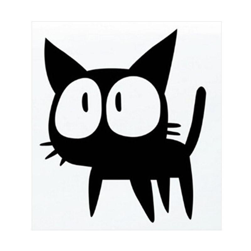 Aksesoris Stiker Mobil Kucing Kaget Cat Body Kaca Car Decal Sticker