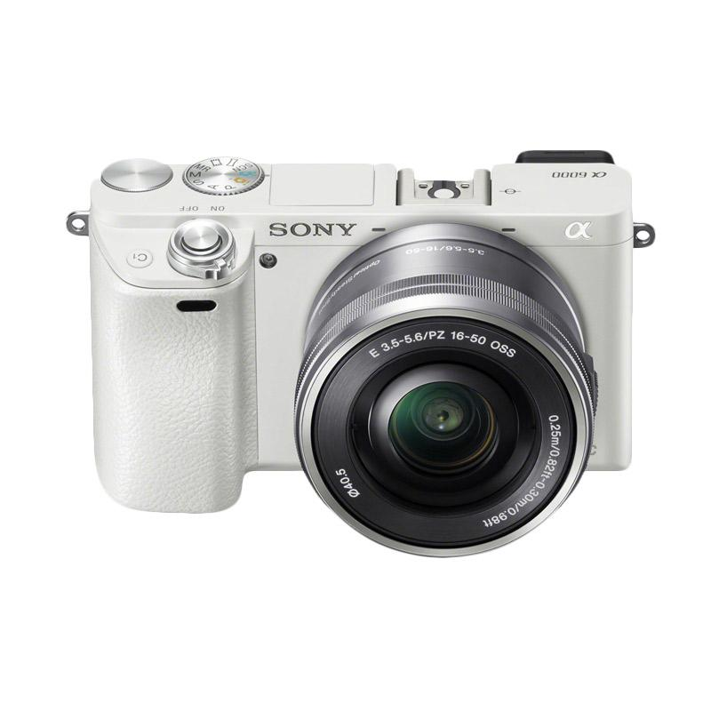 Sony Alpha A6000 Digital Camera Mirrorless with 16-50mm Power Zoom Lens - White