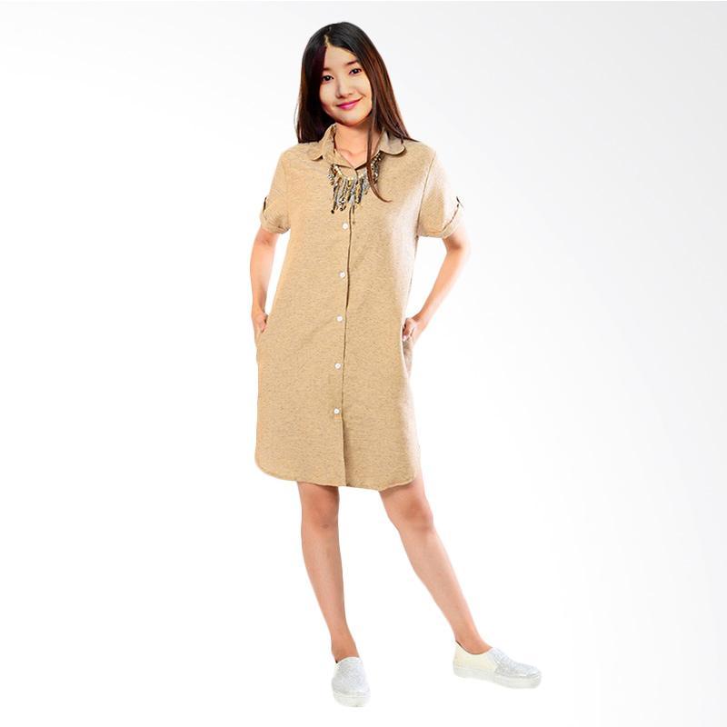 Jfashion Arumi Mini Dress Wanita Tangan Pendek Khaki