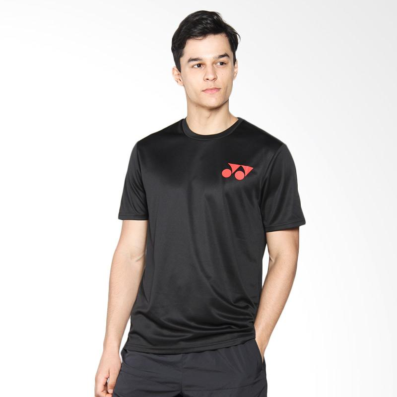 harga YONEX Fiery Red Round Neck Men T-Shirt Kaos Badminton - Jet Black RM-S092-41001-178B-17-SR Blibli.com