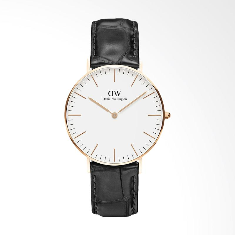 Daniel Wellington Classic Reading Leather Jam Tangan Pria - Gold Black DW00100041 [36mm]
