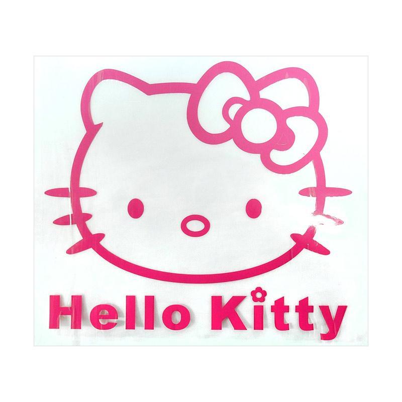SIV STI-HK408 DP Motif Kitty Medium Sticker Mobil Universal - Dark Pink