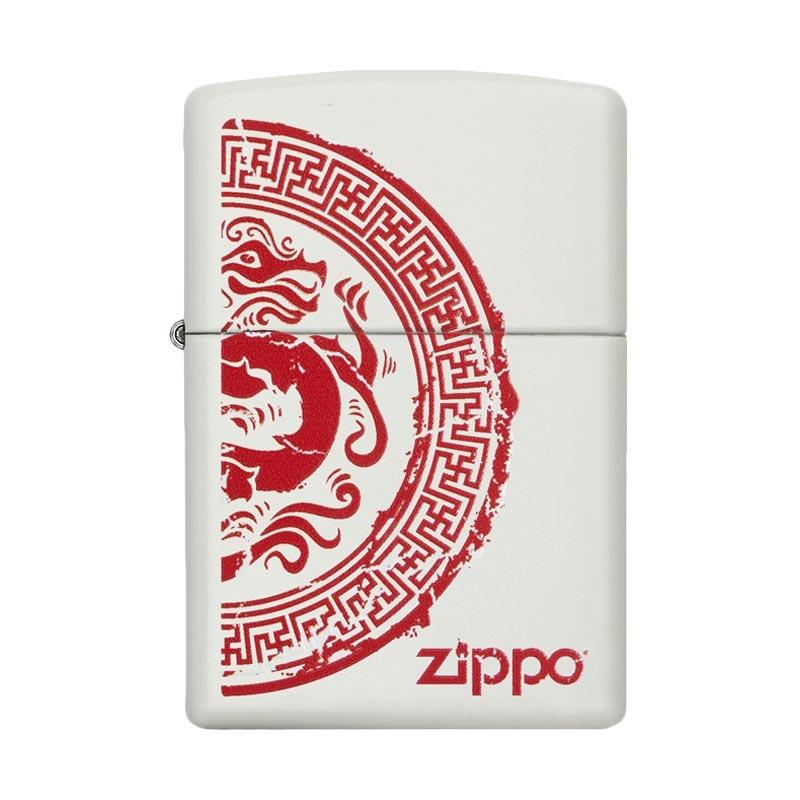 Zippo Dragon Stamp Matte Pocket Lighter - White