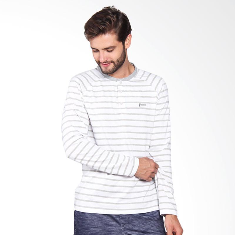 Hammer Men Henley Stripe Pakaian Pria - White Grey H1HS019W1