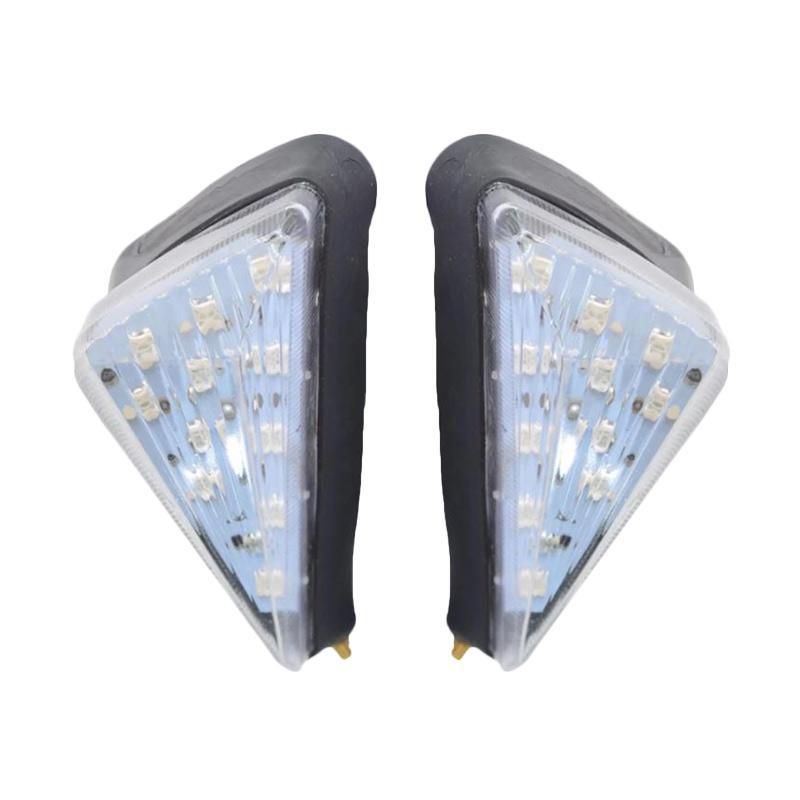 Raja Motor Segitiga 11 Mata Lampu Sen Tempel LED for Kawasaki KLX or Ninja 250 - Kuning [SED4022-DasarPutih-NyalaKuning]