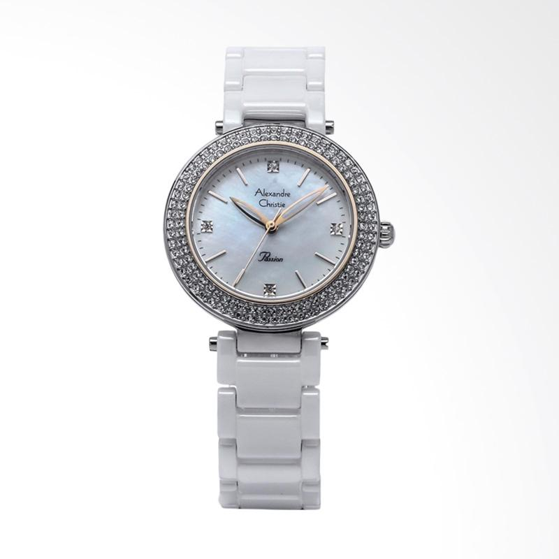 Alexandre Christie ACF-2323-LHBTCMS Ladies Mother of Pearl Dial Stainless Steel Jam Tangan Wanita - White Silver