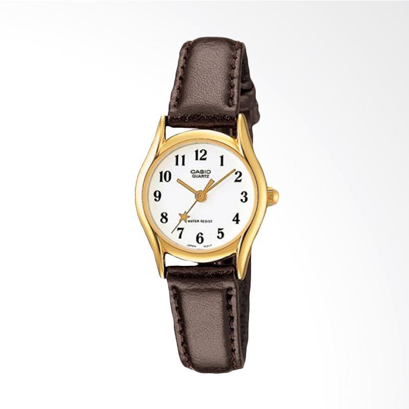 Casio LTP-1094Q-7B5RDF Enticer Ladies White Dial Brown Leather Strap Jam Tangan Wanita