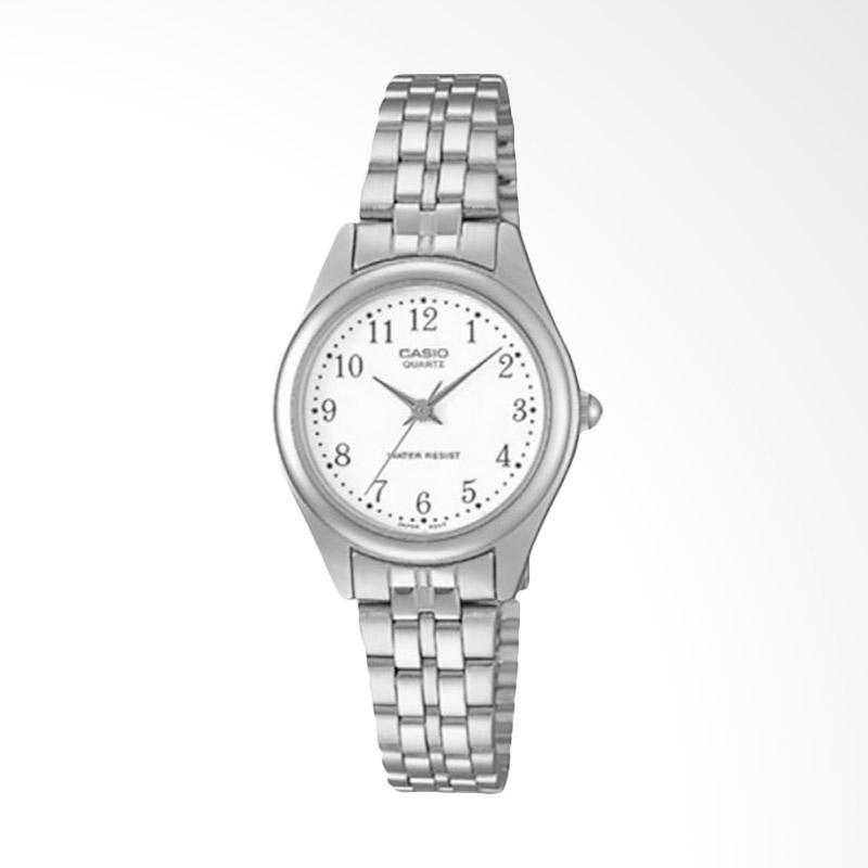CASIO LTP-1129A-7BRDF Enticer Ladies Silver Dial Silver Stainless Steel Jam Tangan Wanita