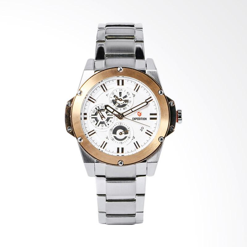 Expedition EXF-6696-BFBTRSL Sport White Dial Stainless Steel Watch Jam Tangan Unisex - Silver