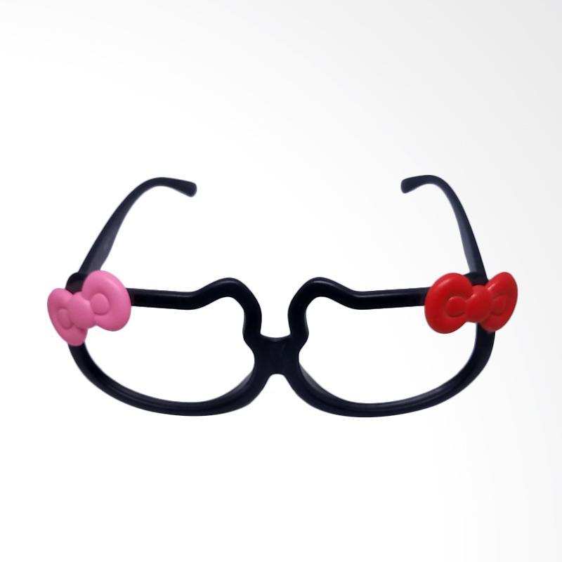 Hello Kitty Polos Kaca Mata Tanpa Kaca - Black Pink Red