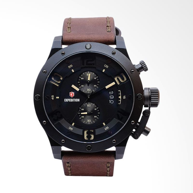 Expedition Man Black Dial Brown Leather Strap Jam Tangan Pria - Brown EXF-6381-MCLIPBAIVBO