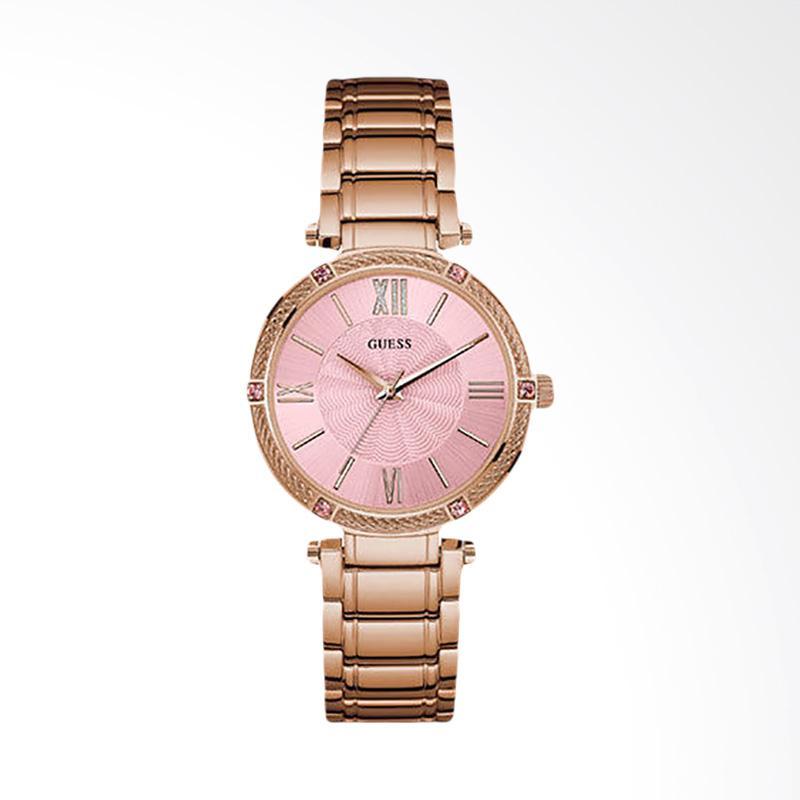 Guess U0636L2 Women Pink Dial Rose Gold-tone Stainless Steel Jam Tangan Wanita
