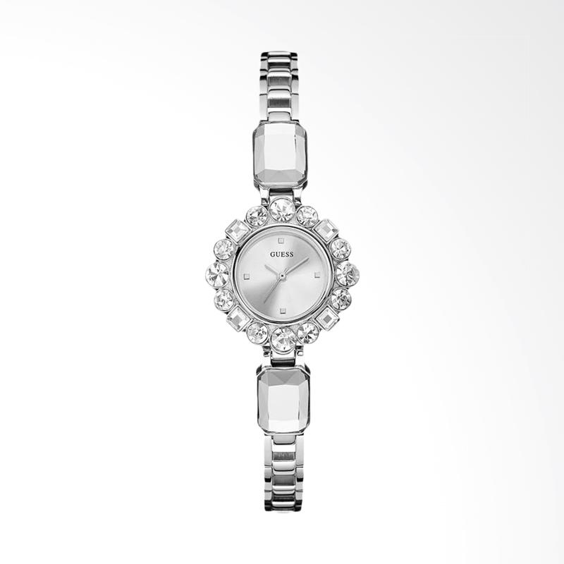Guess U0701L1 Women Dressy Jewelry Inspired Silver Dial Stainless Steel Crystal Band Jam Tangan Wanita