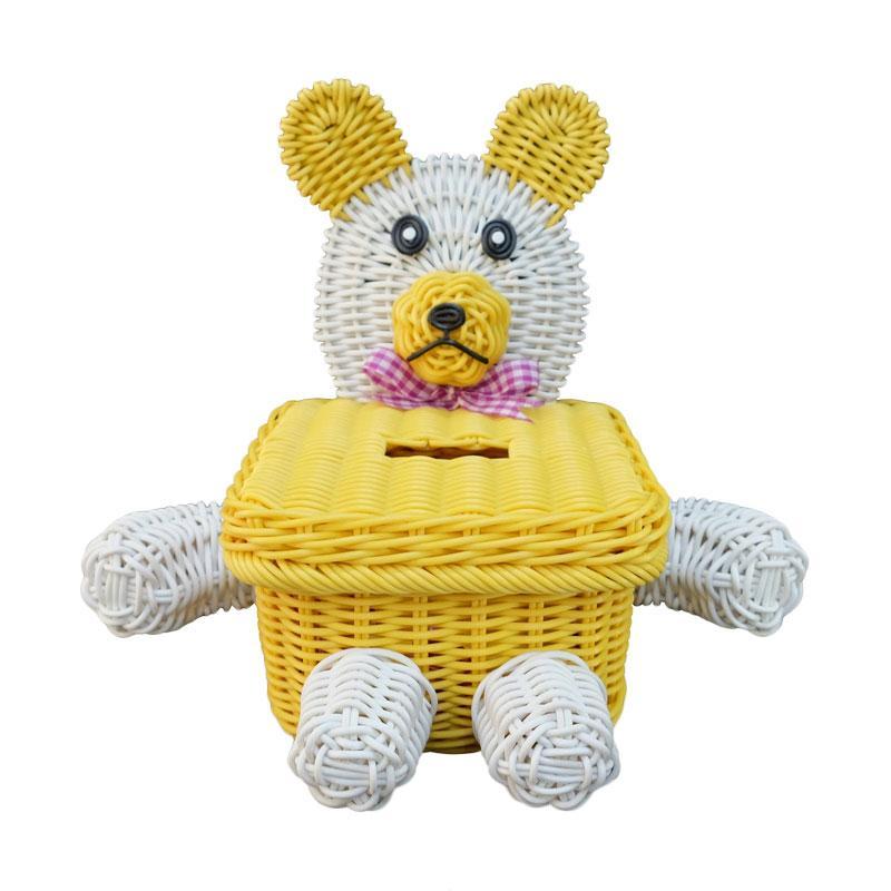 Ayumi Katsuko Tissue Box Bear Rotan Sintetis Keranjang - Yellow