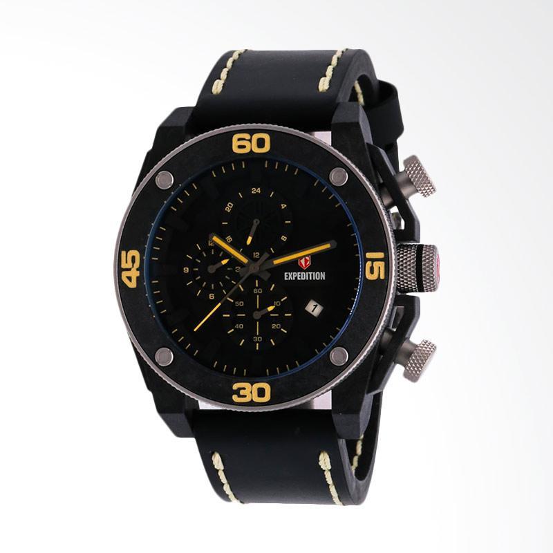 Expedition Man Black Dial Black Leather Strap Jam Tangan Pria - Black EXF-6710-MCLSSBAYL