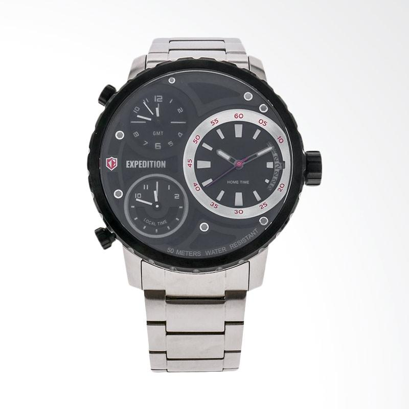 Expedition Man Triple Time Zones Black Dial Stainless Steel Jam Tangan Pria - Silver EXF-6718-MTBTBBA