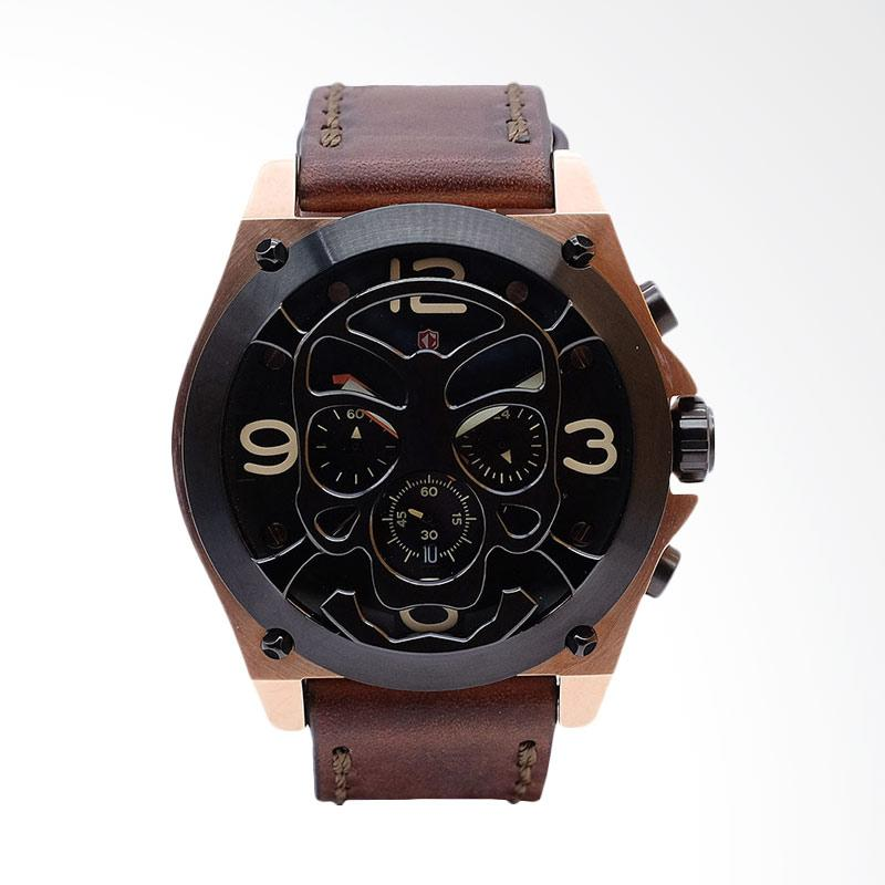 Expedition Man Black Dial Brown Leather Extra Skull Bracelet Jam Tangan Pria - Brown EXF-6699-MCLBRBA