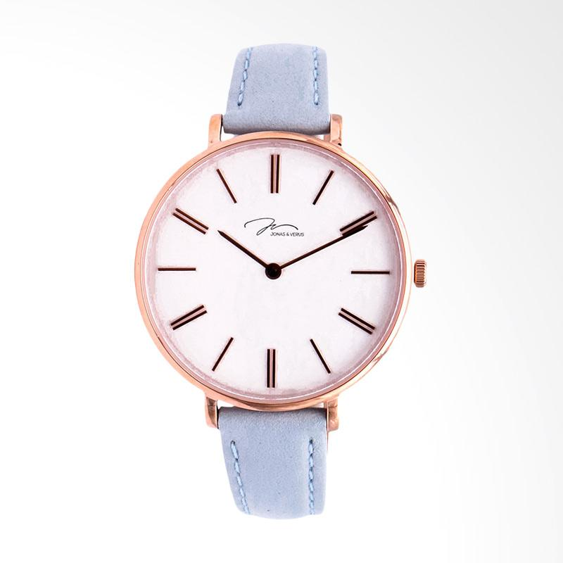 Jonas Verus X01855-Q3.PPWLH Ladies Quartz Watch Minimalist Leather Strap Jam Tangan Wanita - Grey