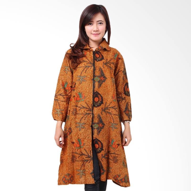 harga Batik Distro BA8641 Tunik Resleting Blus Batik Wanita - Coklat Blibli.com