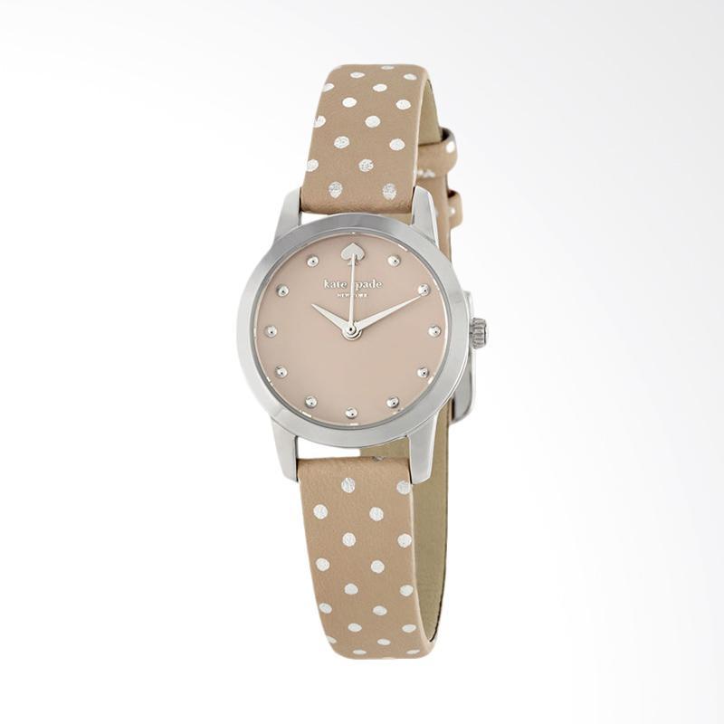 Kate Spade 1YRU0891 Mini Metro Grey Dial Beige Leather Strap Watch Jam Tangan Wanita - Beige