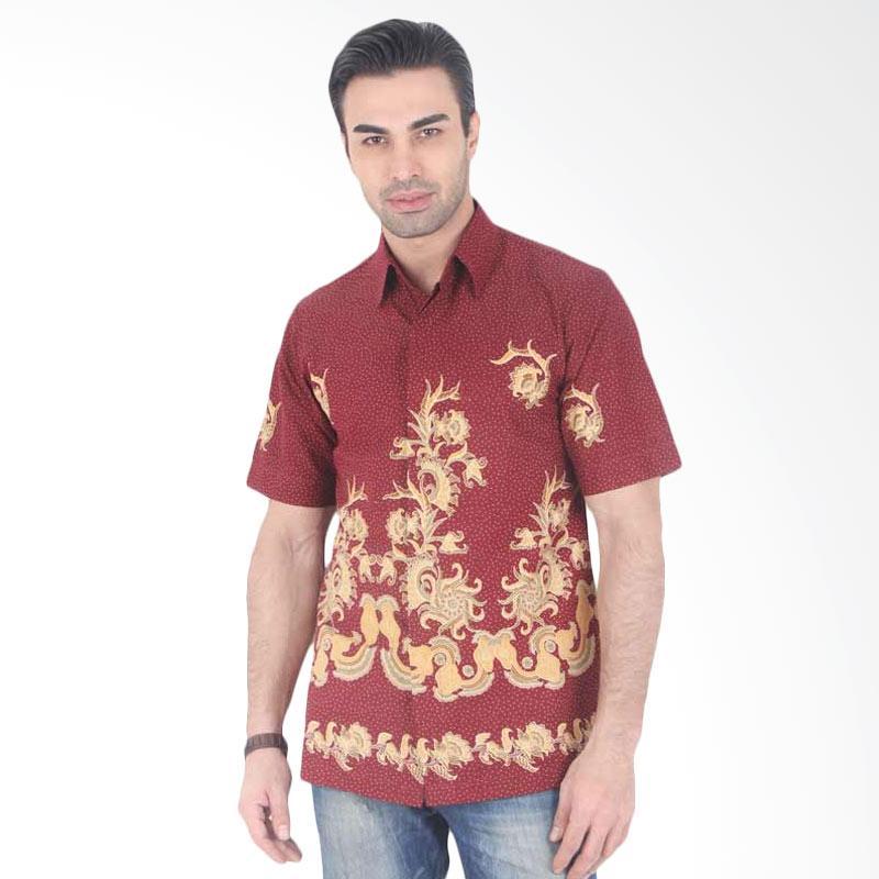 Batik Heritage Katun Pola Daun Slim Fit Batik Lengan Pendek Pria - Red