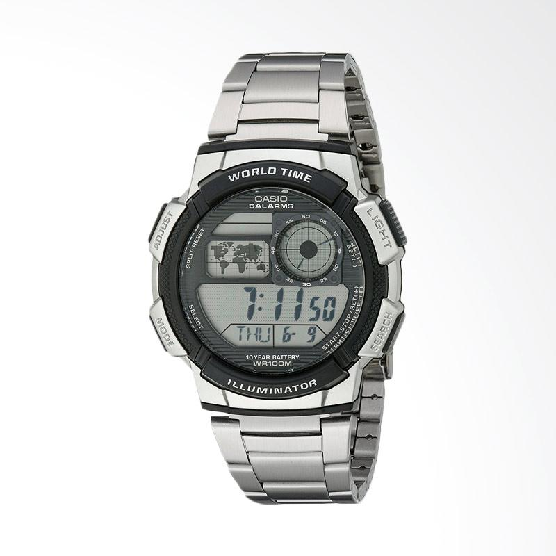 Casio Men's World Time Silver-Tone Bracelet and Digital Sport Watch Jam Tangan Pria AE1000WD-1AVCF