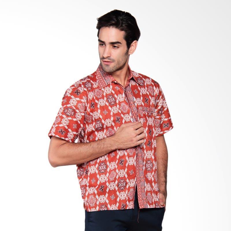 Djoemat Gembira Salur Kemeja Batik Pria - Orange [K16-04-68]