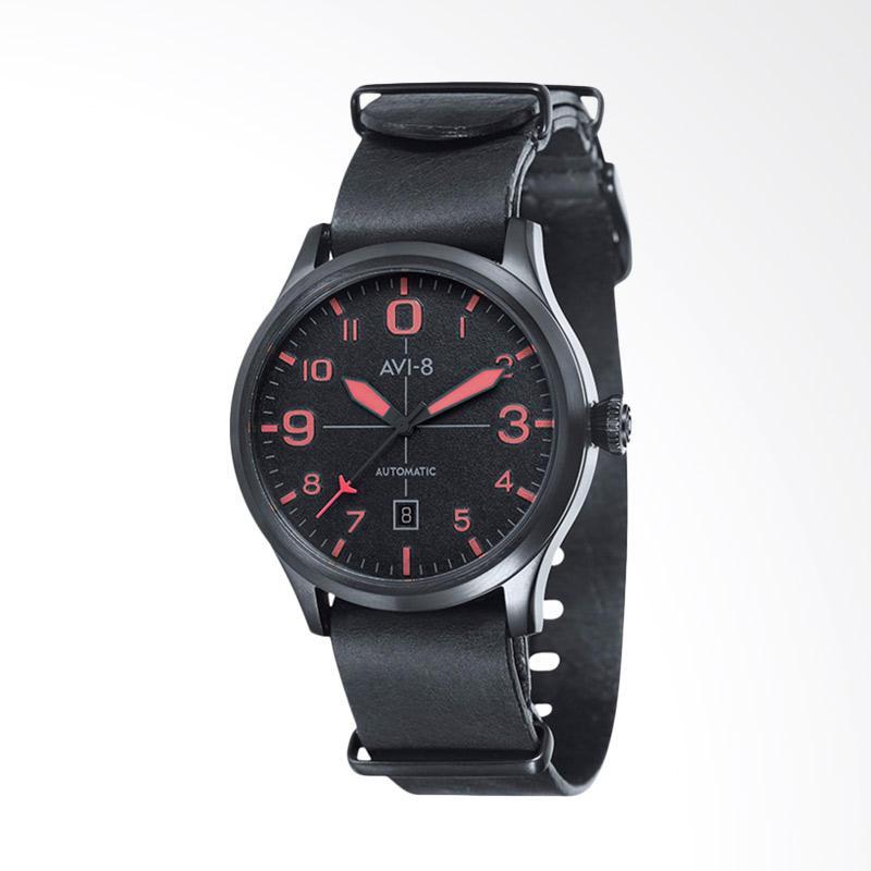 AVI-8 Man Flyboy Automatic Watch Leather Strap Jam Tangan Pria - Black AV-4021-0E