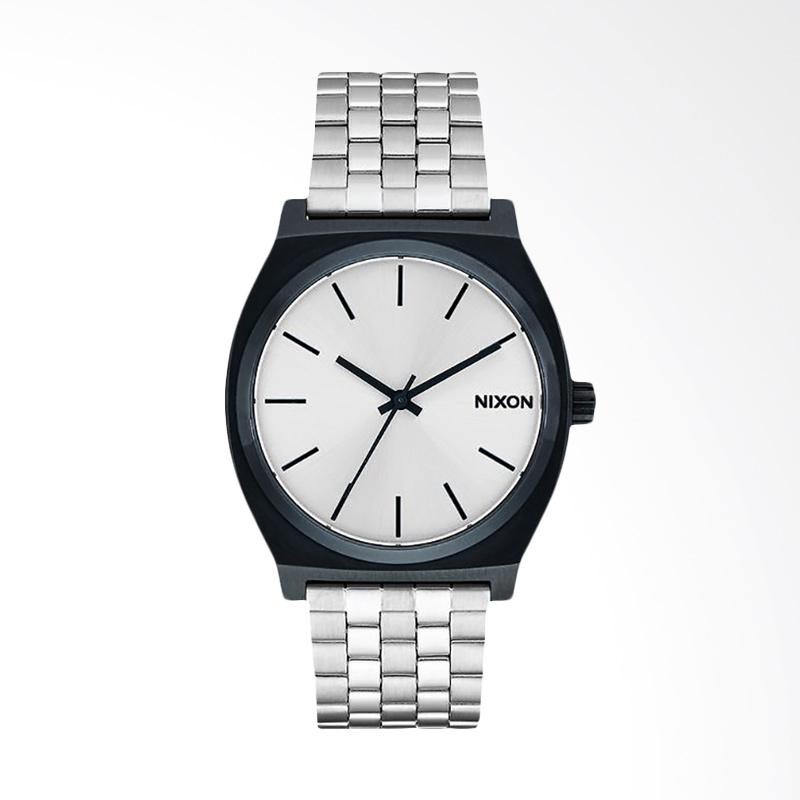 Nixon Time Teller Silver Dial Black Stainless Steel Strap Watch Jam Tangan Pria - Silver A0451849