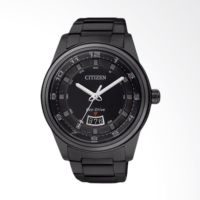 Citizen Men Eco-Drive Black Dial Black IP Stainless Steel Watch Jam Tangan Pria AW1284-51E