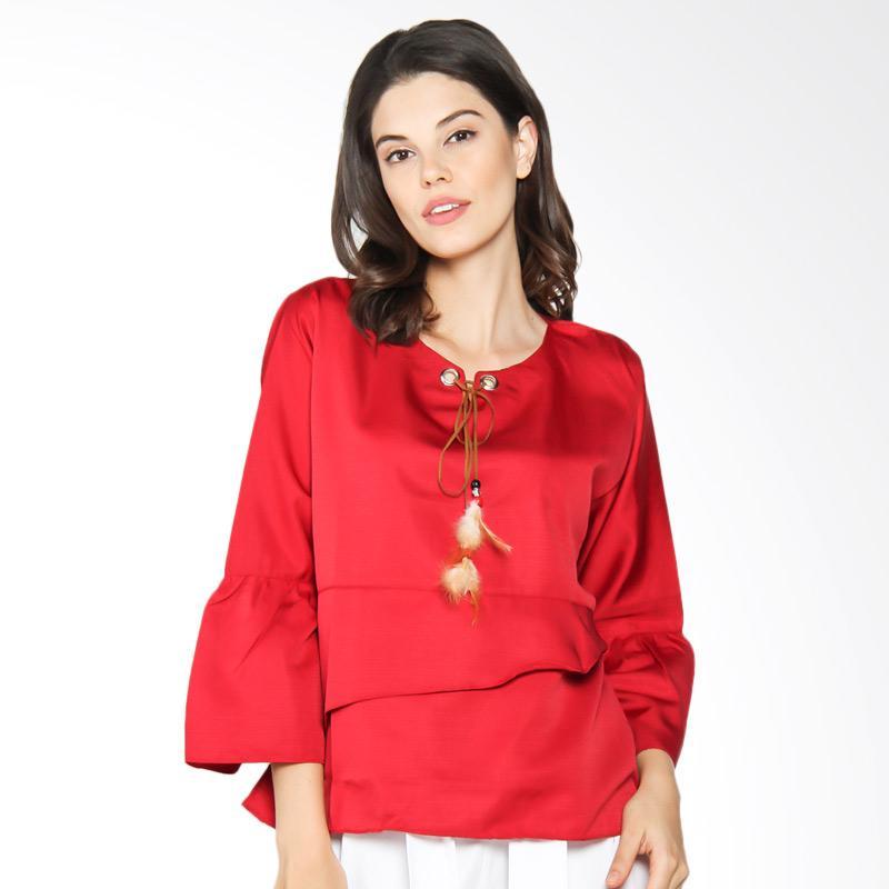 Jening Batik WMS JBW020 Blouse Atasan Wanita - Maroon