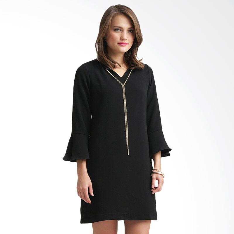 Minimal Collar Chain Dress Wanita - Jet Black
