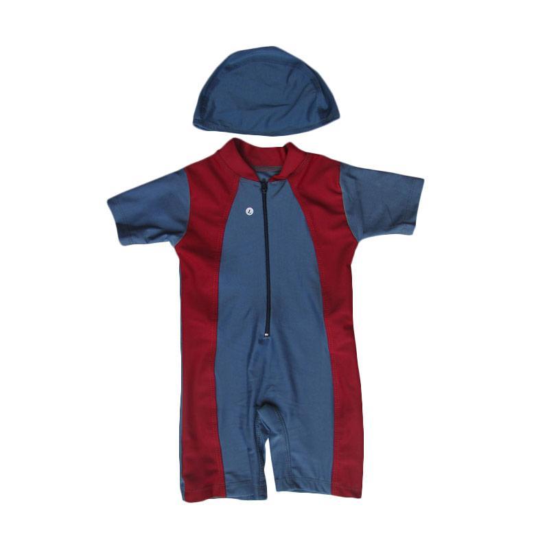 Rainy Collections Baju Renang Bayi with Topi - Abu Merah