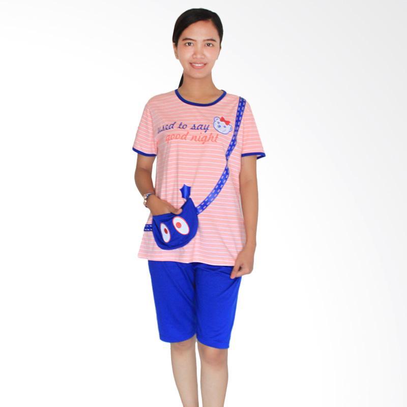 Aily 462 Celana Pendek Setelan Baju Tidur Wanita - Pink