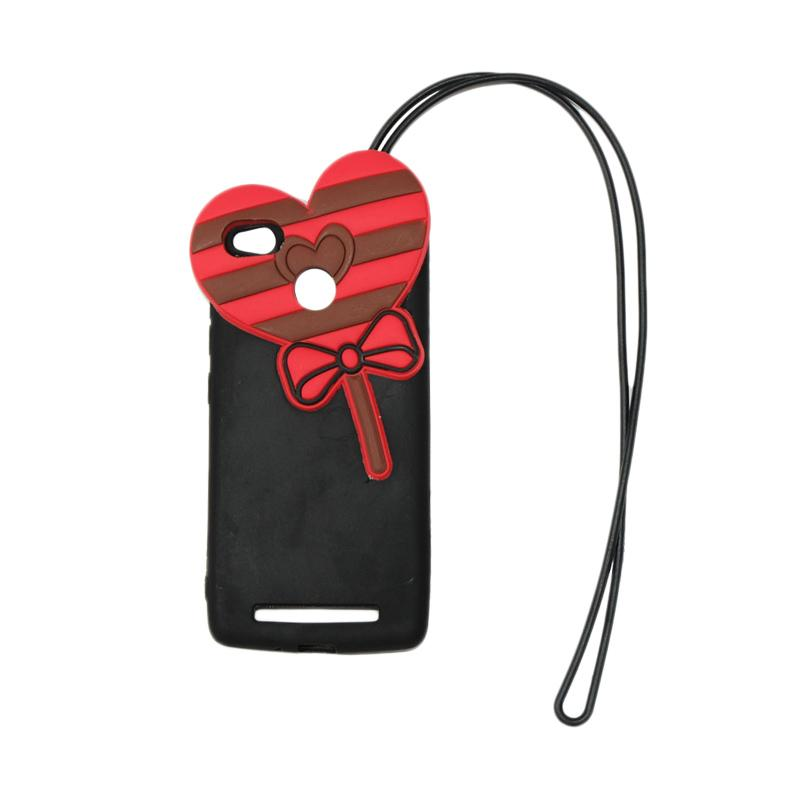 QCF 4D Karakter Candy Love Edition Silikon Softcase with Kalung Tali Gantungan Casing for Xiaomi Redmi 3 Pro - Hitam