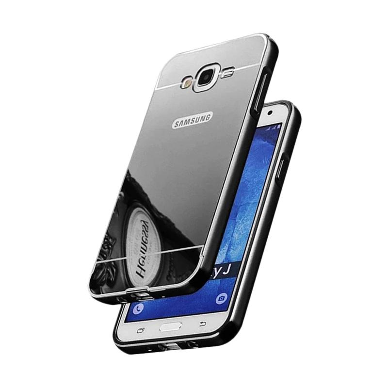 QCF Bumper Mirror Siliding Alumunium Metal Hardcase Casing for Samsung Galaxy J7 Core - Black