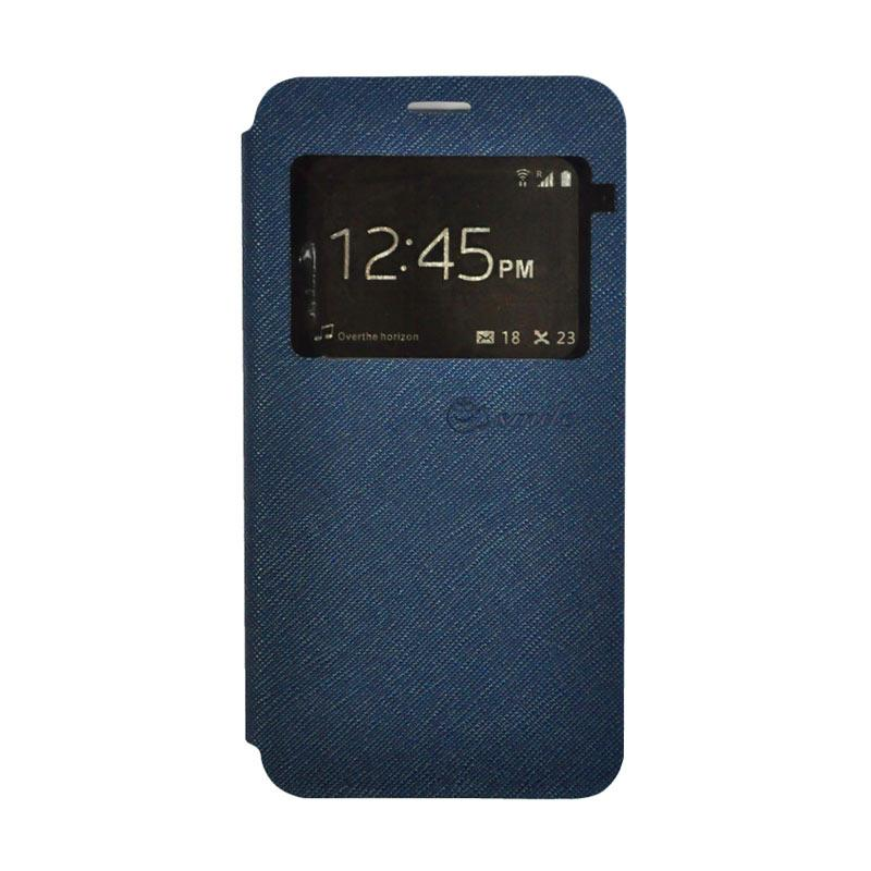 SMILE Leather Standing Flip Cover Casing for Vivo Y21 - Navy Blue